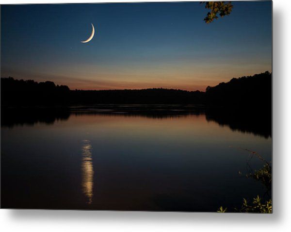 Metal Print featuring the photograph Crescent Moon Set At Lake Chesdin by Jemmy Archer