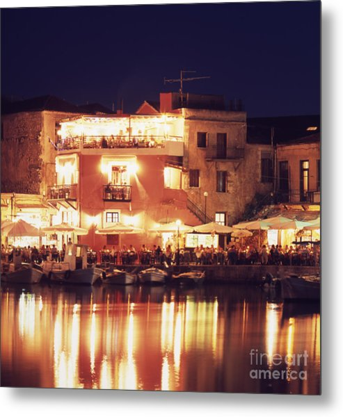 Crete. Rethymnon Harbor At Night Metal Print by Steve Outram