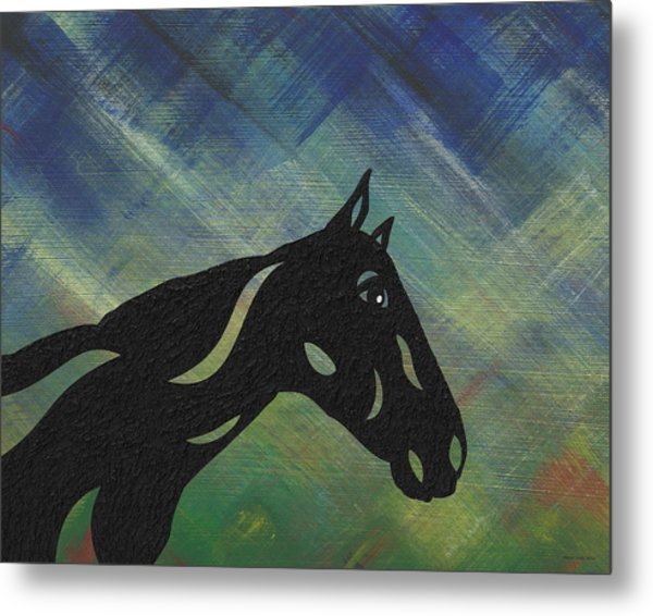 Crimson - Abstract Horse Metal Print