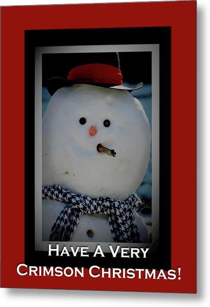 Crimson Christmas Snowman Metal Print