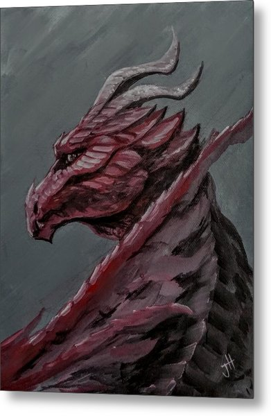 Metal Print featuring the painting Crimson Dragon by Jennifer Hotai
