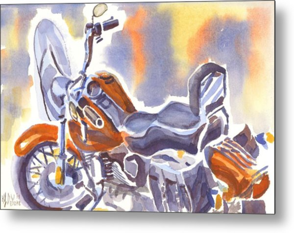 Crimson Motorcycle In Watercolor Metal Print