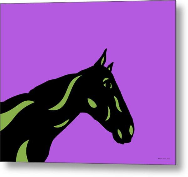 Crimson - Pop Art Horse - Black, Greenery, Purple Metal Print