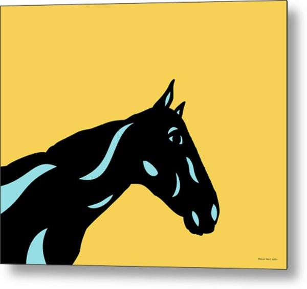 Crimson - Pop Art Horse - Black, Island Paradise Blue, Primrose Yellow Metal Print