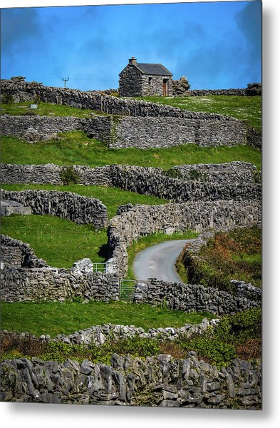 Metal Print featuring the photograph Criss-crossed Stone Walls Of Inisheer by James Truett