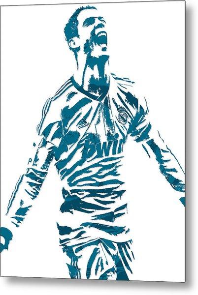 Cristiano Ronaldo Real Madrid Pixel Art 4 Metal Print