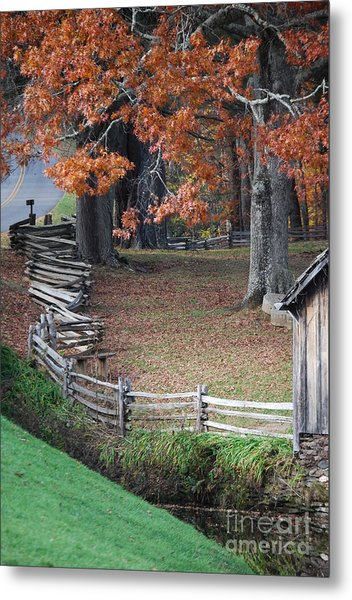 Crooked Fence Metal Print