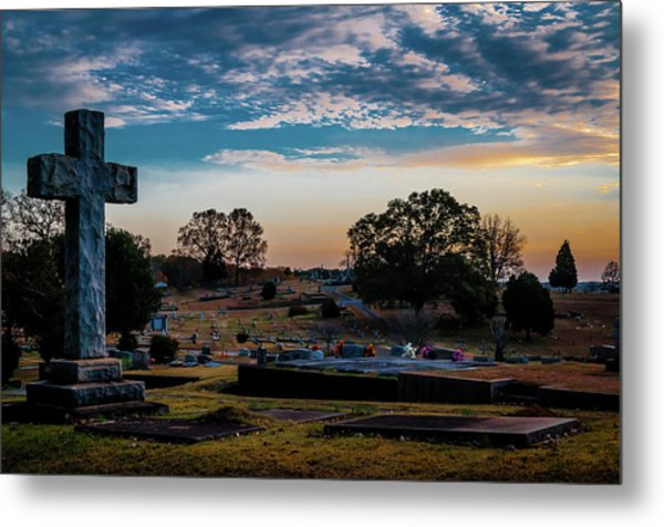 Cross At Sunset Metal Print