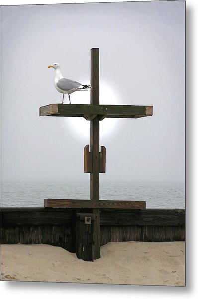 Cross At West Dennis Beach Metal Print