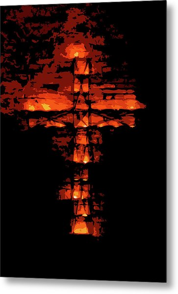 Cross On Fire Metal Print by Andrea Mazzocchetti