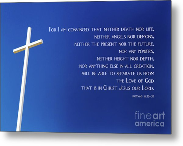 Metal Print featuring the photograph Cross With Blue Sky by Steven Frame
