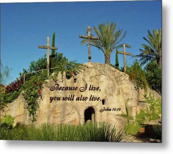 Crosses And Resurrection Metal Print