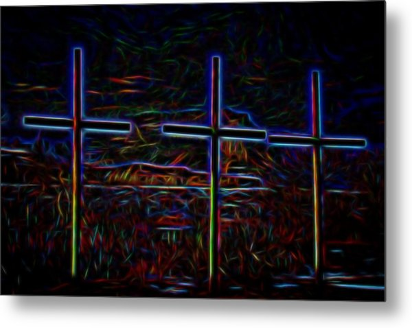 Crosses Under The Bluff Metal Print by Tim Abshire