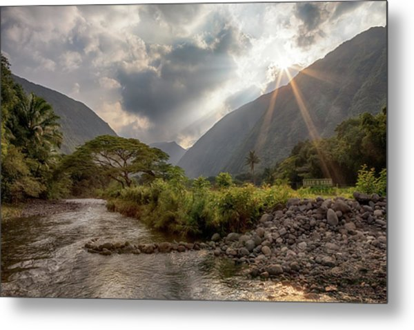 Metal Print featuring the photograph Crossing Hiilawe Stream by Susan Rissi Tregoning