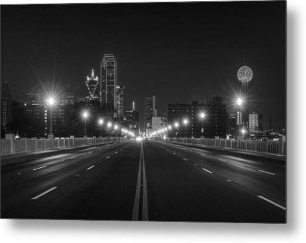 Metal Print featuring the photograph Crossing The Bridge To Downtown Dallas At Night In Black And White by Todd Aaron