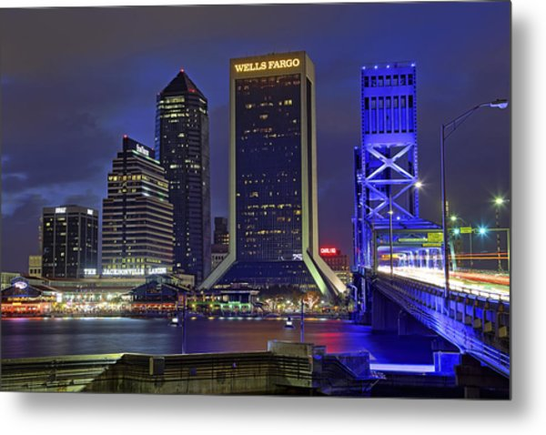 Crossing The Main Street Bridge - Jacksonville - Florida - Cityscape Metal Print