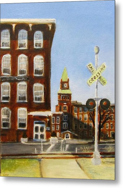 Metal Print featuring the painting Crossing The Tracks by Linda Feinberg