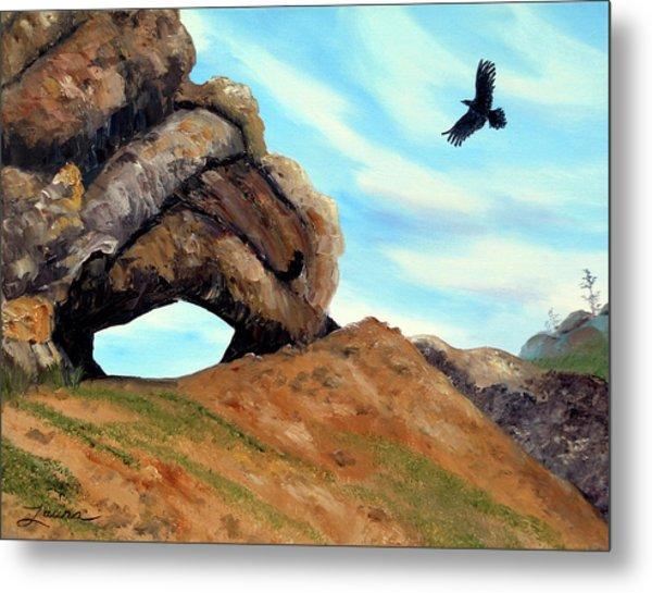 Crow Flying By Window Rock Metal Print