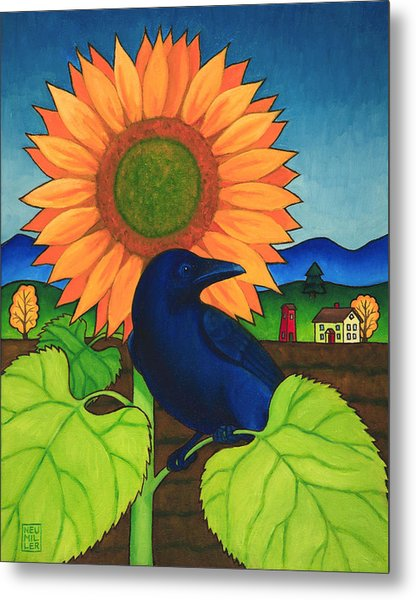 Crow In The Garden Metal Print