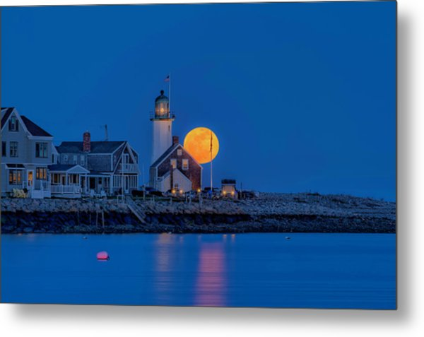 Crow Moon Over Old Scituate Light Metal Print