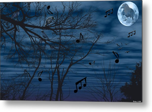 Crow Sings At Midnight Metal Print by Evelyn Patrick