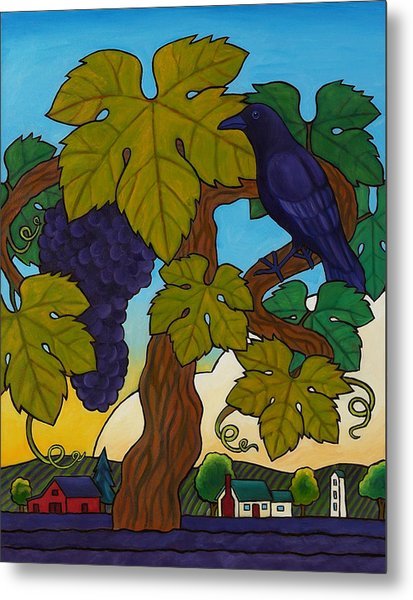 Crow With Wine On The Vine Metal Print