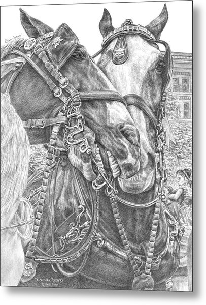 Crowd Pleasers - Clydesdale Draft Horse Art Print Metal Print