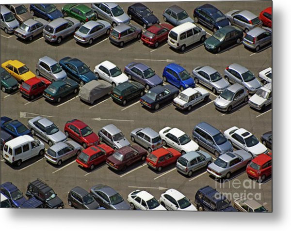 Crowded Carpark Full Of Cars Metal Print by Sami Sarkis