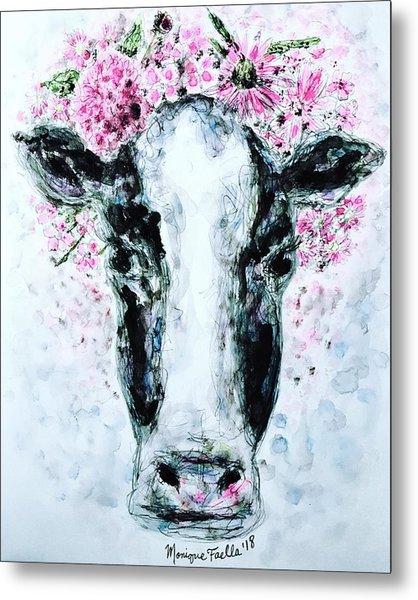 Crown Of Flowers Cow Metal Print