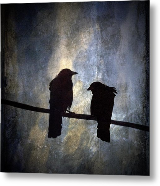 Crows And Sky Reflections Metal Print