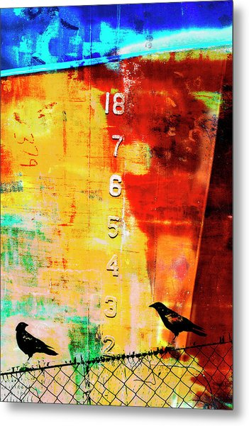 Crows By The Numbers Mixed Media Metal Print