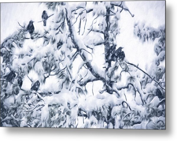 Crows In Snow Metal Print
