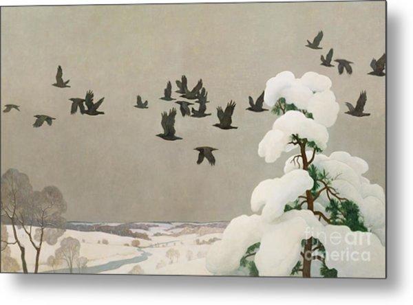 Crows In Winter Metal Print