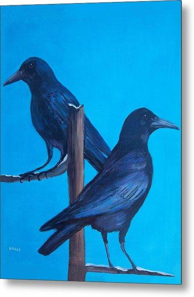 Crows On Tree Top Metal Print