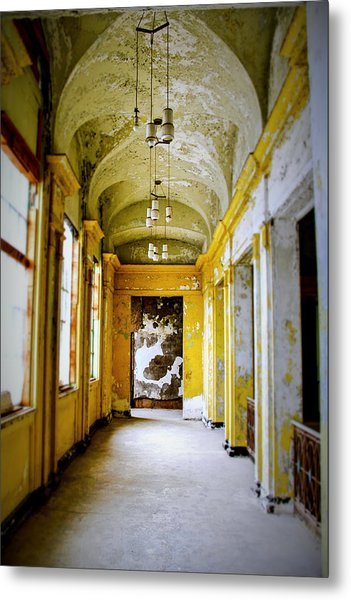 Crumbling Cathedral Corridor Metal Print by Keith Rousseau