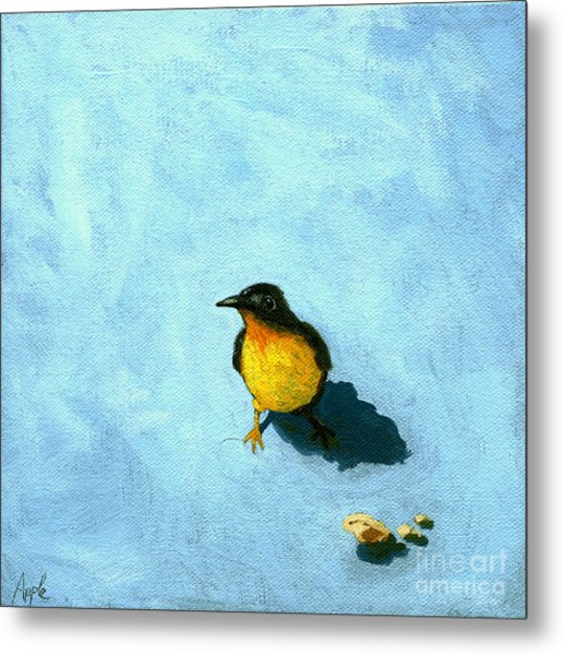 Crumbs -bird Painting Metal Print by Linda Apple