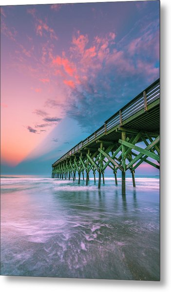 Metal Print featuring the photograph Crystal Beach Pier Sunset In North Carolina by Ranjay Mitra