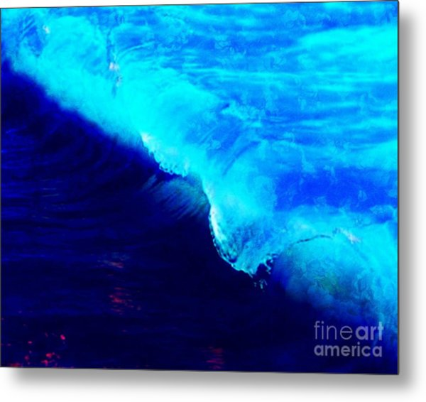 Crystal Blue Wave Painting Metal Print