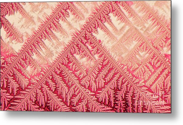 Crystal In Red Pigment Metal Print