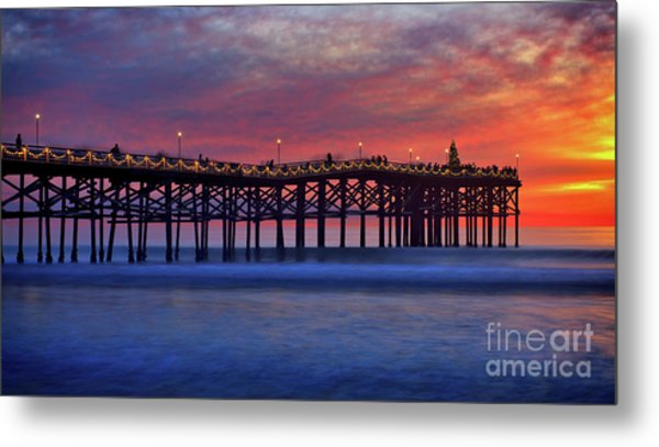 Crystal Pier In Pacific Beach Decorated With Christmas Lights Metal Print
