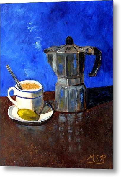 Cuban Coffee And Lime Blue Metal Print by Maria Soto Robbins