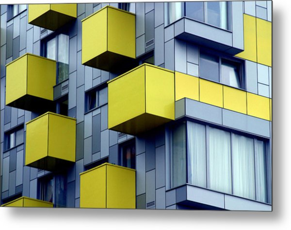Cubed Yellow Metal Print by Jez C Self