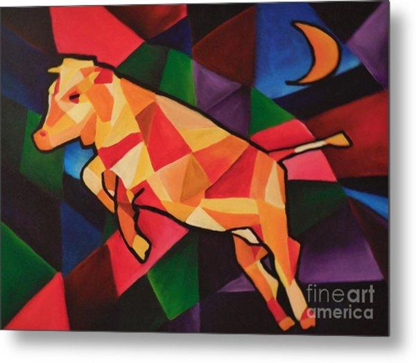 Cubism Cow Metal Print