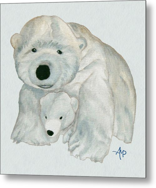 Cuddly Polar Bear Watercolor Metal Print