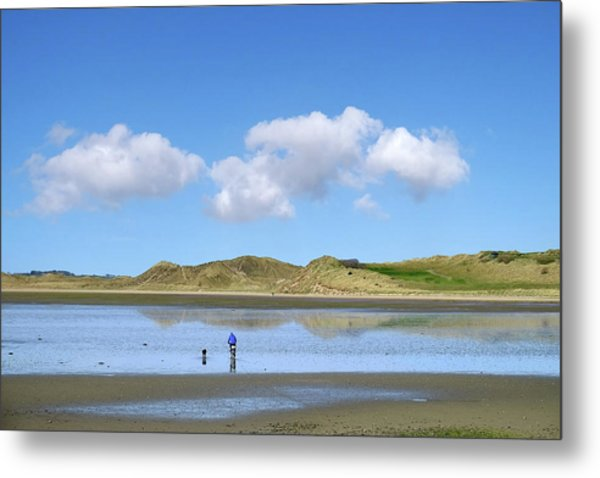 Culleenamore, Strandhill, Sligo - A Man And A Dog Cycle Over The Water To The Dunes On A Sunny Day Metal Print