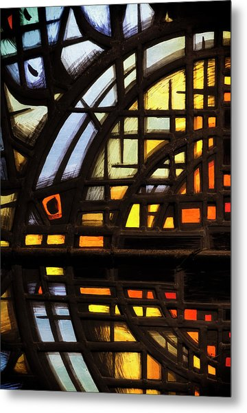 Metal Print featuring the photograph Culross Abbey - Stained Glass by Jeremy Lavender Photography