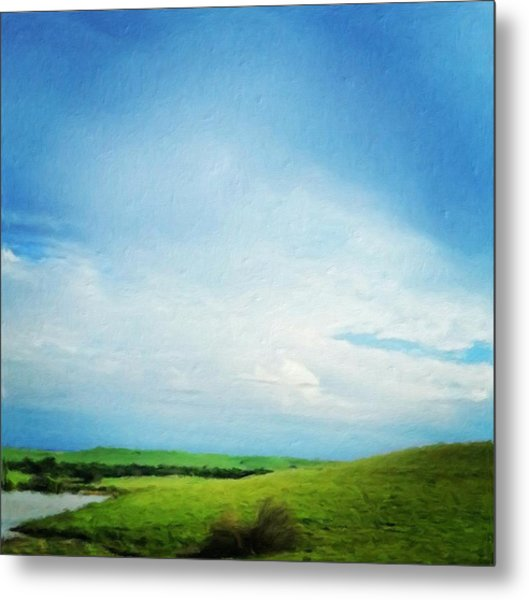Cultivating Green And Blue Landscape Metal Print