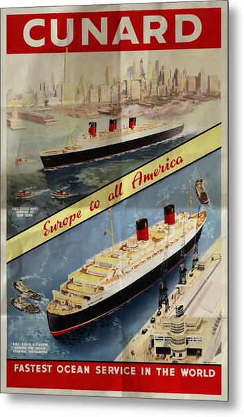 Cunard - Europe To All America - Vintage Poster Folded Metal Print