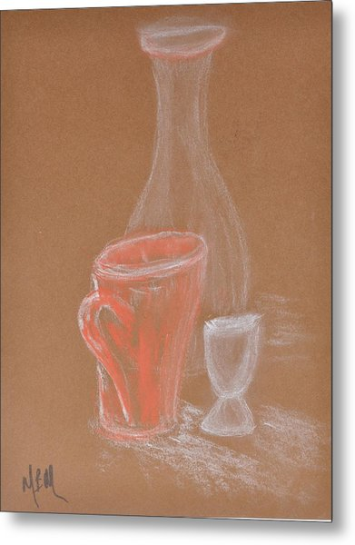 Cup And Bottle Still Metal Print by MaryBeth Minton