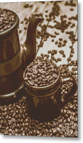 Cup And Teapot Filled With Roasted Coffee Beans Metal Print